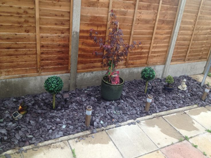 9 best ideas about customer photos slate chippings on for Blue slate garden designs