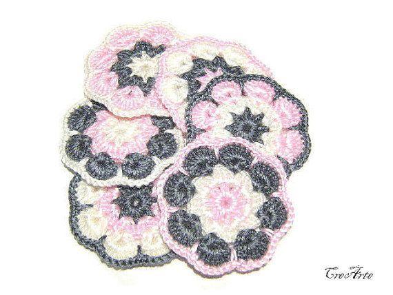 Crochet Afgan flower appliques Crochet by CreArtebyPatty on Etsy
