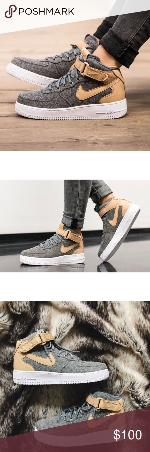 Nike Air Force 1 '07 Mid Leather Premium Sneakers •Premium grey wool and oatmeal leather accents. •Women's size 8.5, best for a normal-wide width foot. •New in box (no lid). •NO TRADES/HOLDS/PAYPAL/MERC/VINTED/NONSENSE. Nike Shoes Sneakers