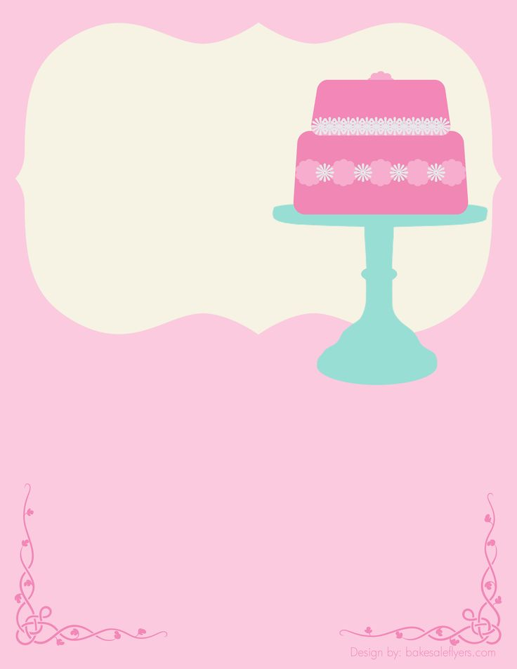 Free Bake Sale Flyer Template Cake   Could TOTALLY See Customizing This For  A Baby/bridal Shower! (cupcake Recipes For Kids Bake Sale)  For Sale Poster Template