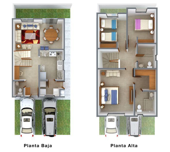 Planos de Casas y Plantas Arquitectónicas de Casas y Departamentos: Plano arquitectónico de casa de dos plantas y 2.5 baños