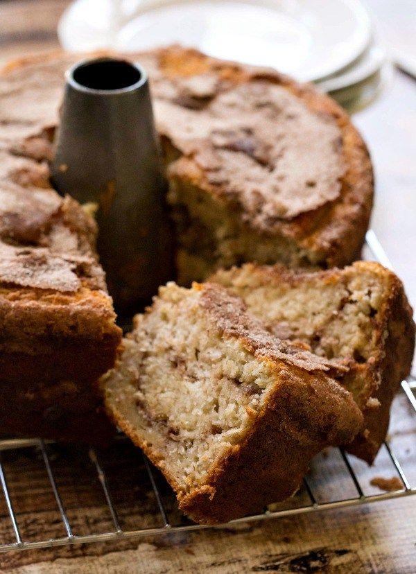 Banana Cinnamon Swirl Coffee Cake Recipe - great way to use ripe bananas that isn't banana bread!