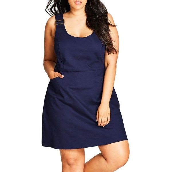 Plus Size Women's City Chic Cute Overall Dress (120 CAD) ❤ liked on Polyvore featuring dresses, denim mid, plus size, women plus size dresses, blue dress, plus size blue dress, plus size dresses and plus size day dresses