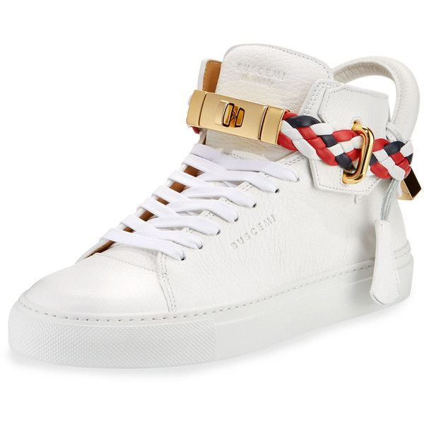 Buscemi Women's 100mm Turn-Lock Braided High-Top Sneaker ($890) ❤ liked on Polyvore featuring shoes, sneakers, white, buscemi sneakers, buscemi shoes and buscemi footwear