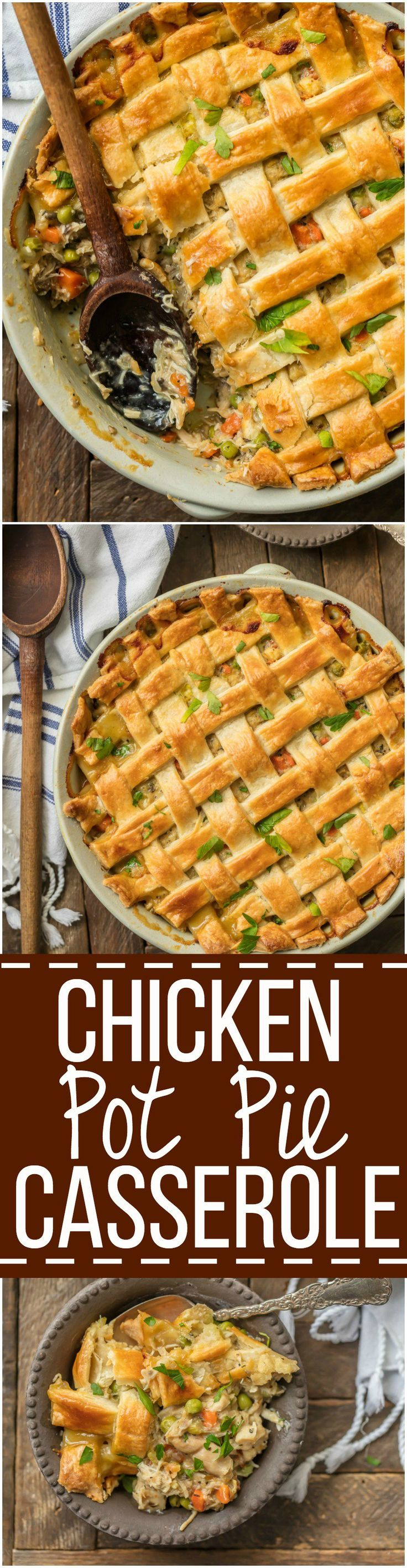 This crazy good CHICKEN POT PIE CASSEROLE is the ultimate easy comfort food! This AMAZING pot pie is loaded with carrots, peas, chicken, and topped with flakey pie crust. OBSESSED. via @beckygallhardin
