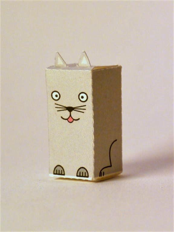 kerajinan gunting/tempel anak TK/SD, membuat sendiri kotak souvenir permen, kucing