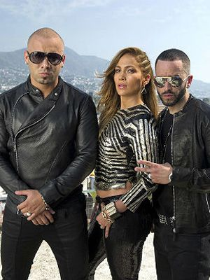 Jennifer Lopez con Wisin y Yandel grabando video
