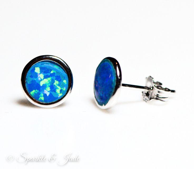Sterling Silver Blue Fire Opal 7mm Stud Earrings – Sparkle & Jade