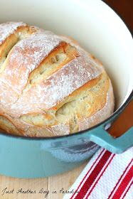 "Dutch Oven Artisan Bread- ""quick"" recipe MY NOTES: My husband and I are now addicted to this bread and I make it at least once a week. Very fast and easy."
