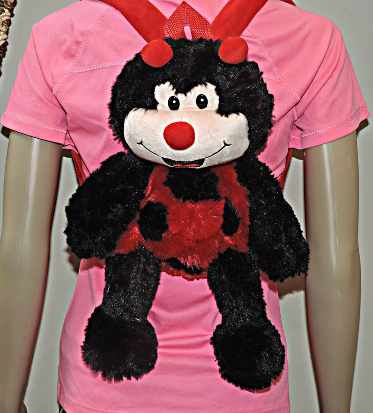 LadyBug Fluffy Stuffed Animal Backpack, Children lunch bag, Toy Age 2-8yrs New #XTIROYAL