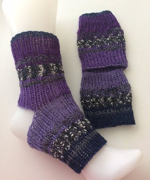 Hand-knitted yoga socks. No toes, no heel, seamless knit for safe yoga and dancing. Prevent slipping while keeping feet warm. Wear with flip flops on pedicure days. Socks are made with 75% Wool and 25% Nylon yarn Hand wash in cool water and lay flat to dry Socks are One Size and fits