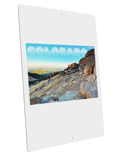 """CO Rockies View with Text Large Aluminum Sign 12 x 18"""" - Portrait"""