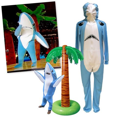 LEFT SHARK: If you're always cold on Halloween, then this shark onesie costume is the outfit for you! Awkward dance moves are a must. Get more fun pop culture inspired costume ideas here.
