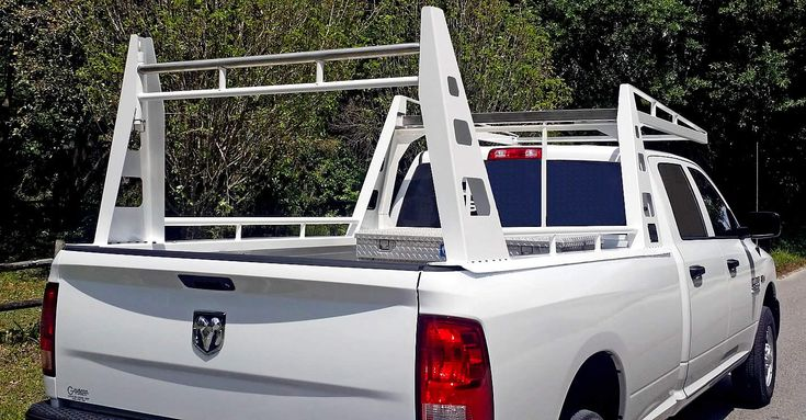 Heavy Duty Truck Racks (www.usrack.com),                      Rear View Image of Wildcatter Industrial duty Truck Rack with Stainless Crossbars; courtesy of Eric Smith Plumbing