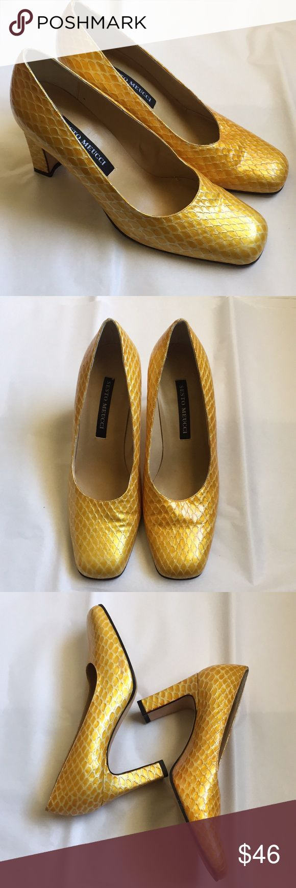 Sesto Meucci snakeskin heels Sesto Meucci snakeskin heels. Glossy lemon yellow leather with block there are some small blue marks on the side of one toe, however these are not noticeable when worn. Otherwise in great condition. Made in Italy. Size 7. Sesto Meucci Shoes Heels