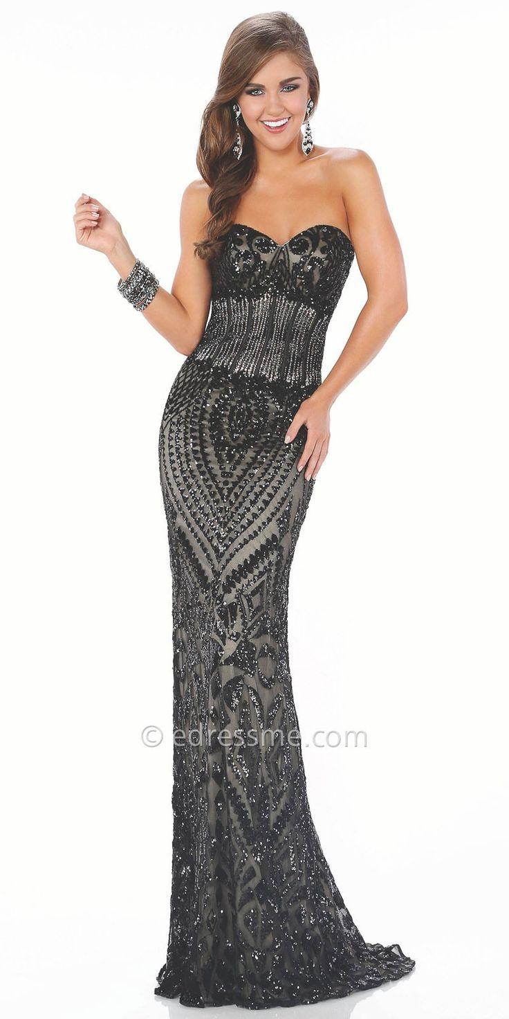 Pattern Sequin Sweetheart Prom Dress by Mon Cheri Le Gala