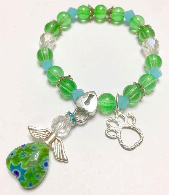 Green Elastic Bracelet, Pet Memorial, Symphaty Pet Loss, Pet remembrance, Rainbow Bridge