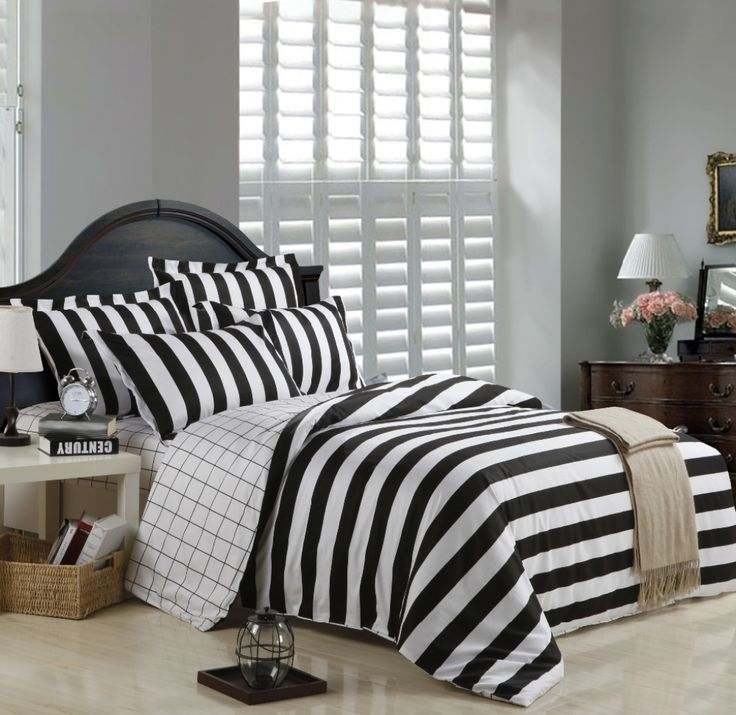 black and white ticking zebra stripe and plaid print modern design full queen size bedding sets find this pin and more on duvet covers