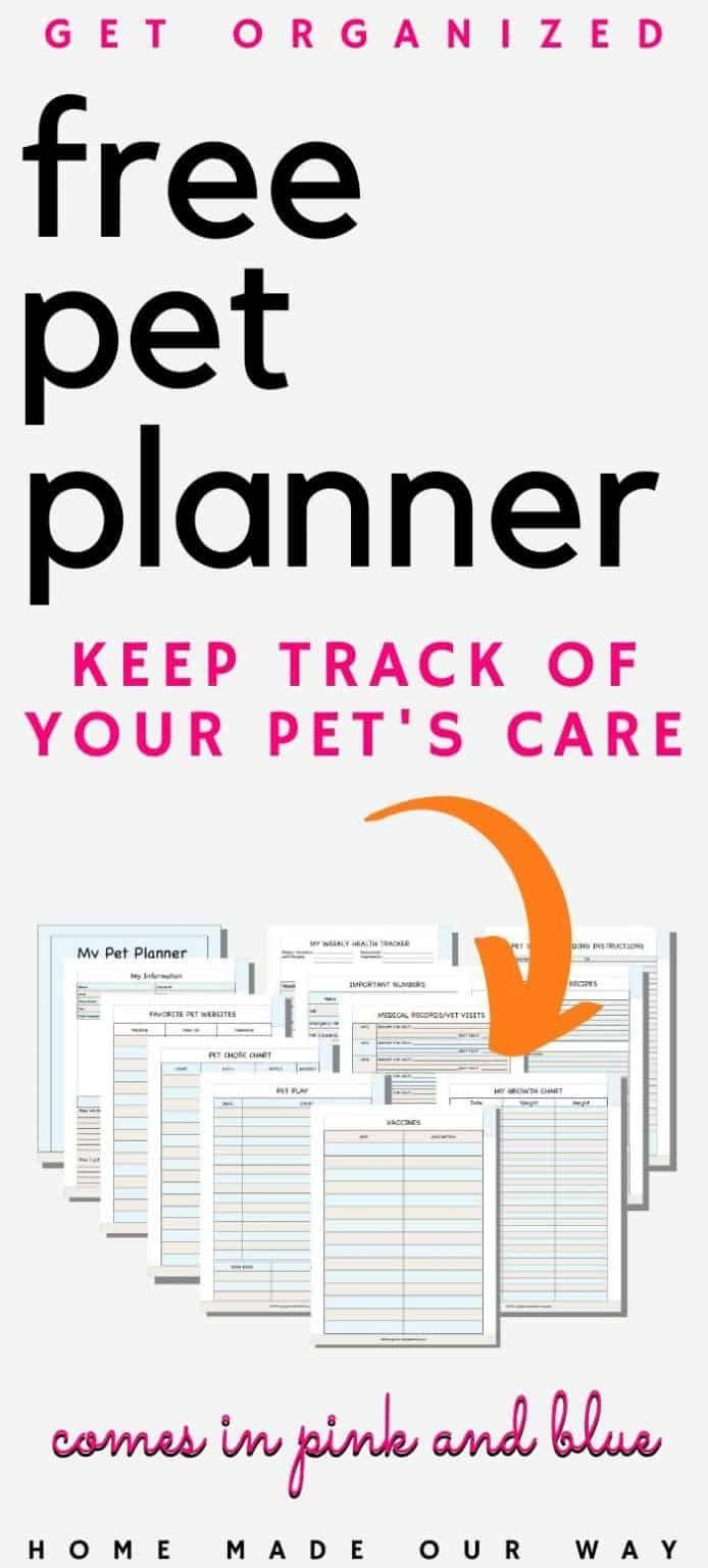 Cute Animals Health Record Printable Pet Health Record Printable Free Pet Health Warning Si In 2020 Pet Care Printables Planner Printables Free Pet Organization