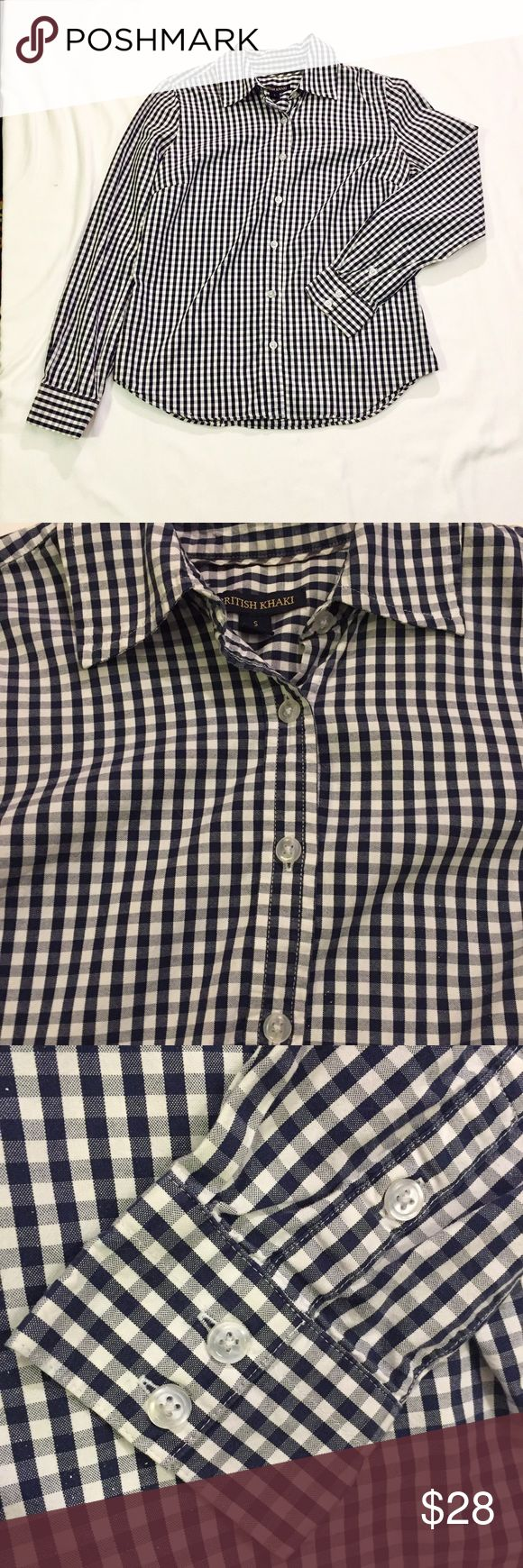 British Khaki Button Down Size Small Navy and white gingham checked Button size small. British Khaki Tops Button Down Shirts