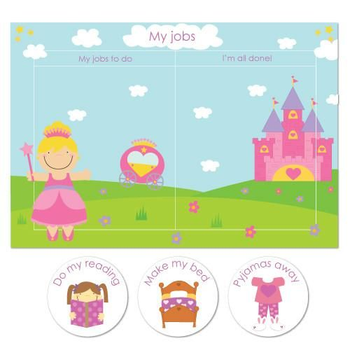 """Help your little ones be organised with our colourful and fun chore/reward chart packs. Little girls will love our cute """"Princess pack""""! In this pack you will r"""