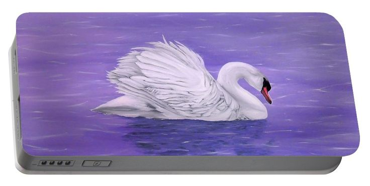 Portable Battery Charger,  purple,lavender,cool,beautiful,fancy,unique,trendy,artistic,awesome,fahionable,unusual,accessories,for,sale,design,items,products,gifts,presents,ideas,swan,lake,nature,white,bird