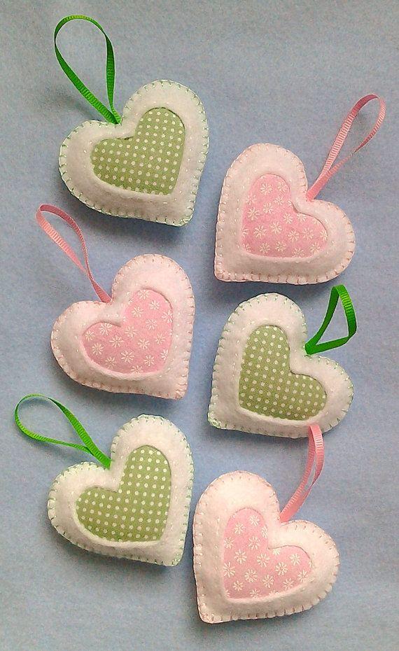Handmade felt hearts set of 6