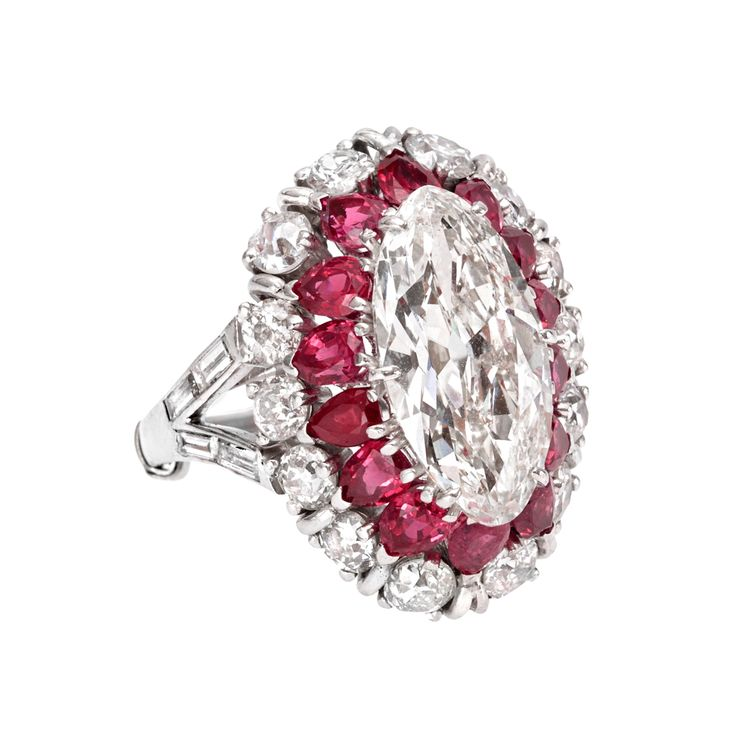 Betteridge Collection Marquise-Shaped Diamond Ring with Ruby & Diamond Surround