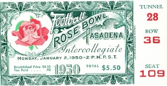 OHIO STATE vs CAL-1950 ROSE BOWL. Terrific football ticket art for game room or office. Click to see who won!