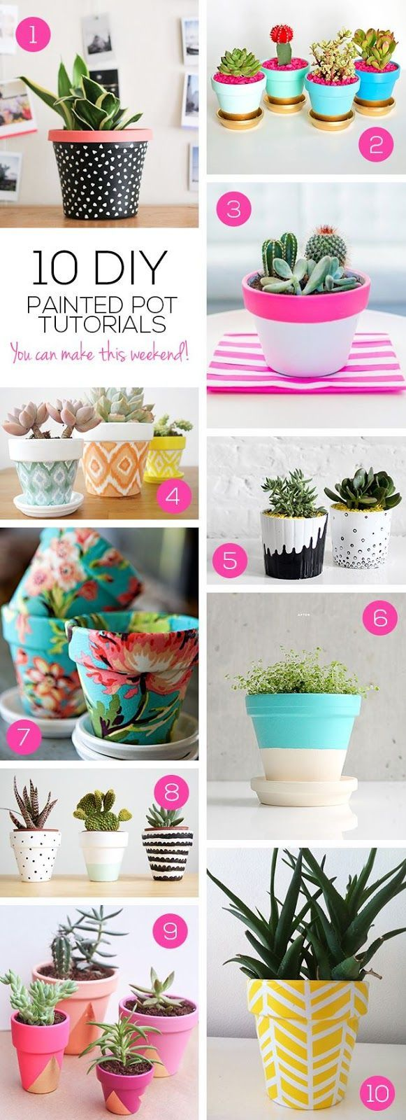 With the new trend for plants taking the UK by storm, I thought I'd share some gorgeous DIY painted plant pot tutorials from around the web ...
