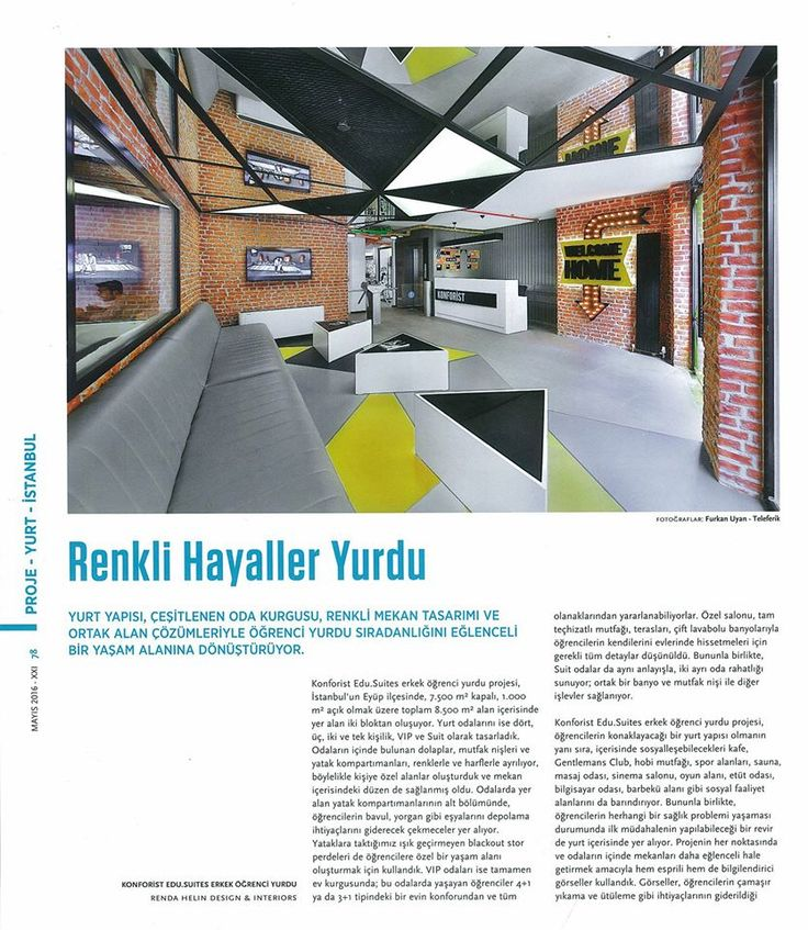 #rendahelindesign #rendahelin #press #new #publication #magazine #turkey #xxımagazine #may2016 #interiordesign #interior #awards #konforistedusuites #konforist #male #dorm #student #hostel