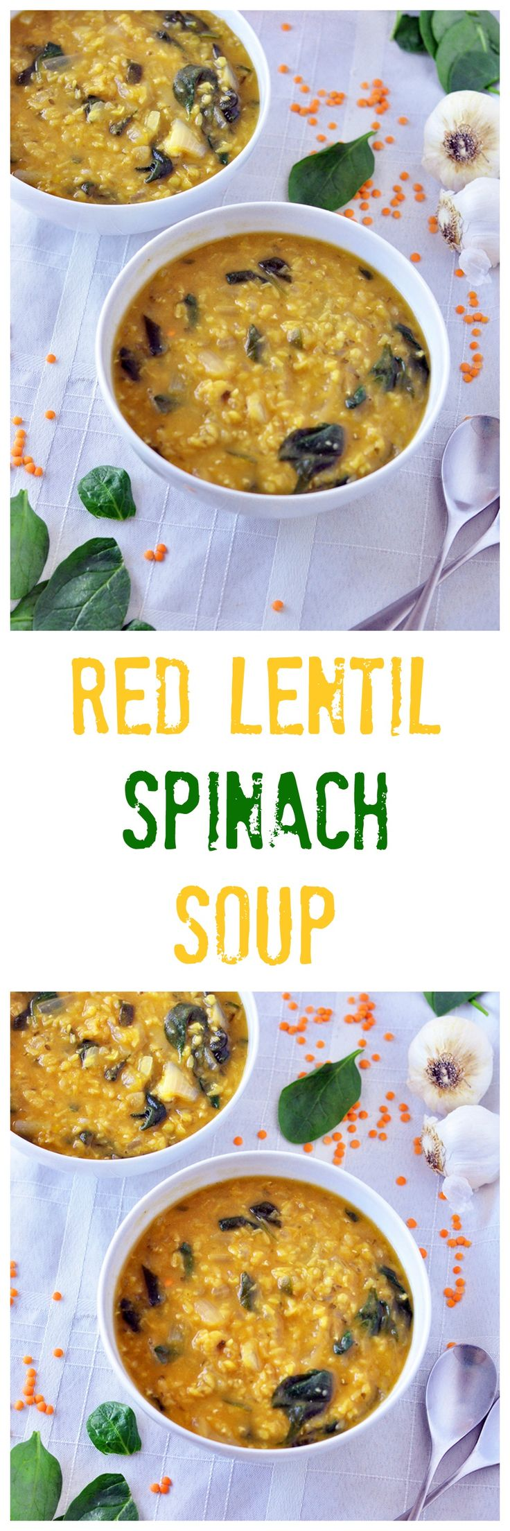 Get back on the healthy track with this Red Lentil and Spinach Soup.  A simple meal sure to please!  Vegan and gluten free.