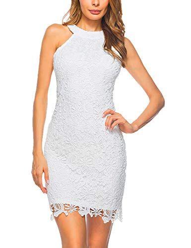 8ce6525f0e465b Lamilus Women s Casual Sleeveless Halter Neck Party Lace Mini Dress