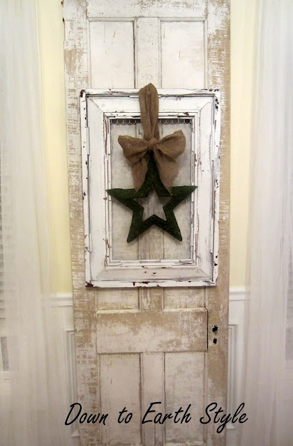 Love this old frame with burlap bow...