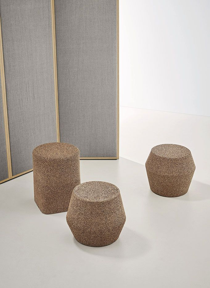 Lievore Altherr — NEW PROJECTS MILANO 2017 - Azuma collection for Noort. Cork stools with solid geometric shapes which replicate those of the washbasins and bathtub.