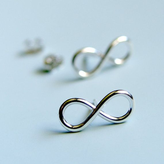 Infinity Symbol Earrings Sterling Silver Sign Stud Studs