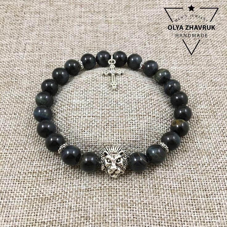 Браслет из соколиного глаза со вставкой в виде головы льва и подвеской крестом  #olya_zhavruk  #браслеты #люкс #jewelry #mens #handmade #бижутерия #jewelrydesigner #mensfashionpost #handmadejewelry #вналичии