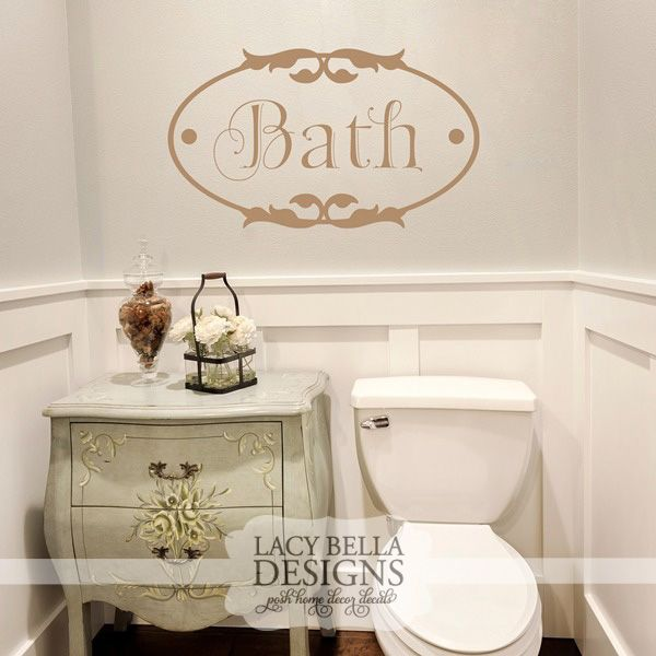 Bathroom Lettering Decor : Quot bath lacybella vinyl wall bathroom decals lacy