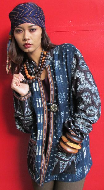 Mali-Bali Jacket by Suzi Click Hand dyed indigo from Mali Indonesian batik cloth Jiyak braid from Uzbekistan Vintage tortoiseshell button