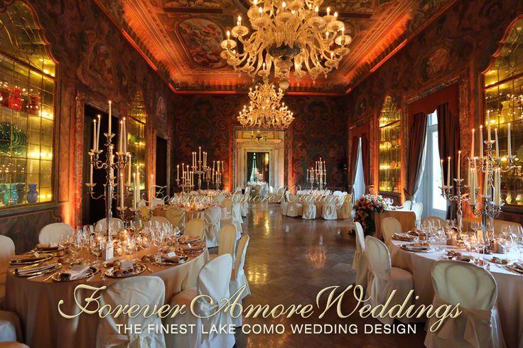 Wedding in Lake Como, Villa Erba. Reception in the beautiful Sala Feste (Celebration Hall) with amber light design. Picture by ForeverAmoreweddings ©