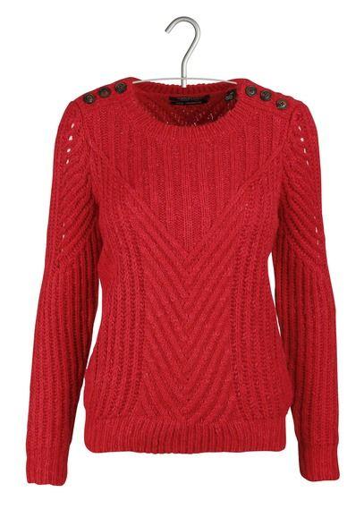 Pull col rond en grosse maille coton laine et mohair Rouge by MAISON SCOTCH