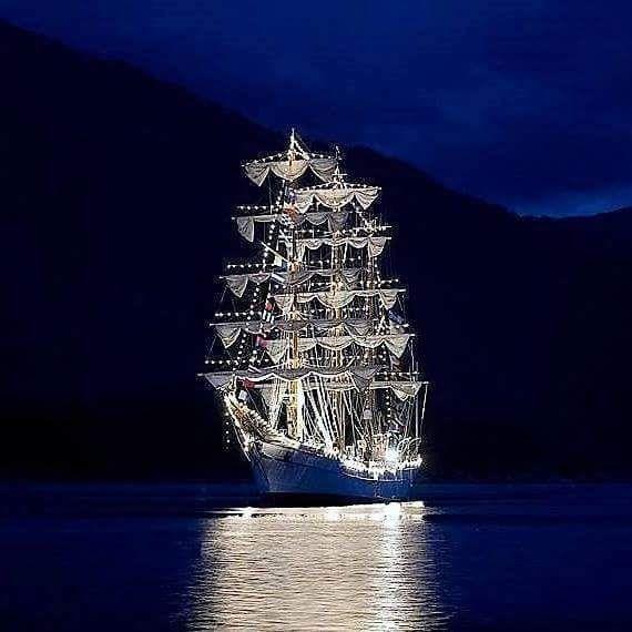 Beautiful Christmas ship in Garabaldi, Oregon. At the coast.