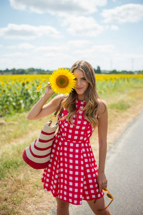 Sunflowers in Loire Valley ~ Needs A Block Colour Red Bag As The Gingham Is Busy Enough To Start With ~ Gal Meets Glam