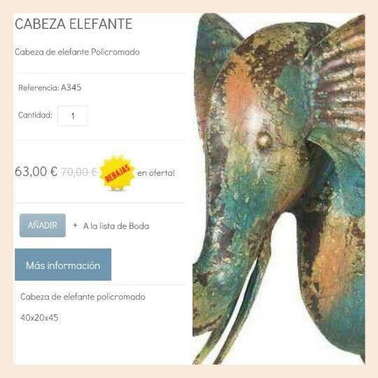Cabeza de elefante policromado! 10% Descuento y envío Gratis!!!! #shoponline #imediterranea #elephant #decorebajas www.dmediterranea.es
