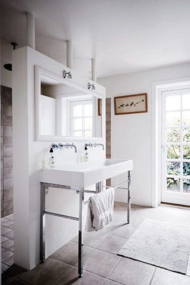 Beautiful Danish Summerhouse - a light filled and practical bathing area