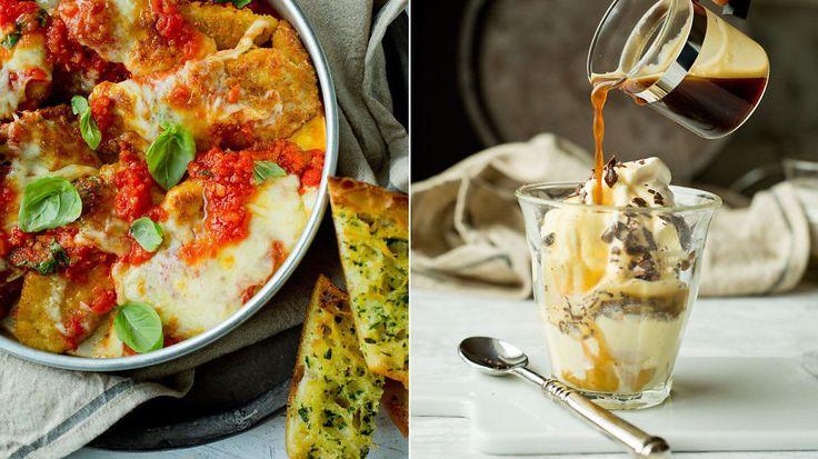 Italiensk fredagskos til TV-kvelden: Sprø parmesan-kylling, hvitløksbrød og kaffedessert - Godt.no - Finn noe godt å spise