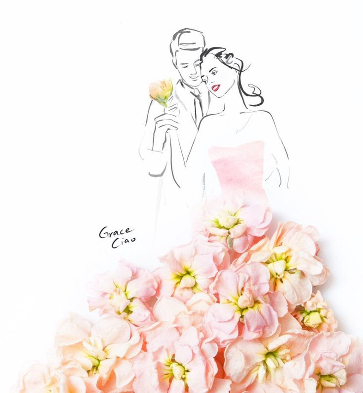 "Grace Ciao on Instagram: ""What is done in love is done well.. ❤️ . . . #delphinium #love #flowerdress #couple #fashionillustration #byGraceCiao"""