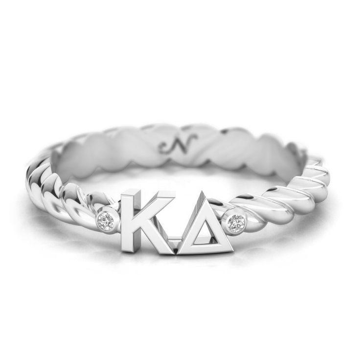 Kappa Delta Silver Pavé Twist Letter Ring #argentium-silver #kappa-delta #rings
