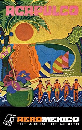 Acapulco - AeroMexico vintage travel poster  beach