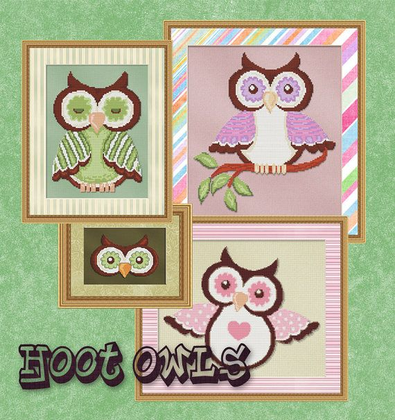 Counted Cross Stitch Pattern Hoot Owls by StitchXCrossStitch, $9.95